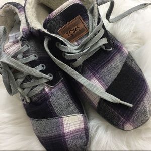 Toms Plaid Sherpa Lined Booties